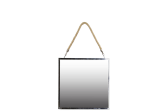 UTC34501 Stainless Steel Square Mirror with Rope Hanger MD Polished Chrome Finish Silver