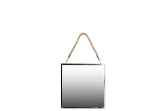 UTC34502 Stainless Steel Square Mirror with Rope Hanger SM Polished Chrome Finish Silver