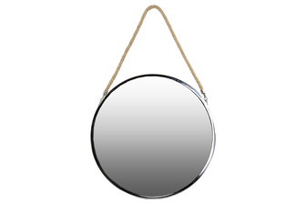 UTC34503 Stainless Steel Round Mirror with Rope Hanger LG Polished Chrome Finish Silver