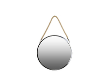 UTC34504 Stainless Steel Round Mirror with Rope Hanger MD Polished Chrome Finish Silver