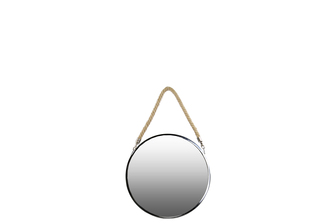 UTC34505 Stainless Steel Round Mirror with Rope Hanger SM Polished Chrome Finish Silver