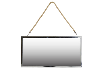 UTC34506 Stainless Steel Rectangular Mirror with Rope Hanger LG Polished Chrome Finish Silver