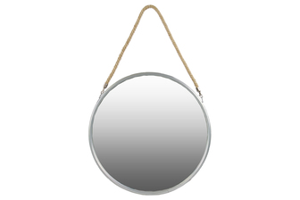 UTC34509 Metal Round Mirror with Rope Hanger LG Coated Finish Silver