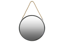 UTC34511 Metal Round Mirror with Rope Hanger LG Coated Finish Black