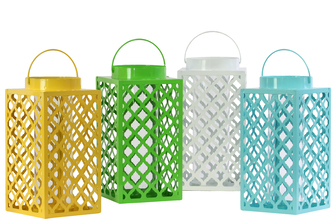 UTC34600-AST Metal Square Lantern with Handle, Diagonal Cutout Design and Glass Tube Assortment of Four Gloss Finish Assorted Color (White, Blue, Yellow and Green)