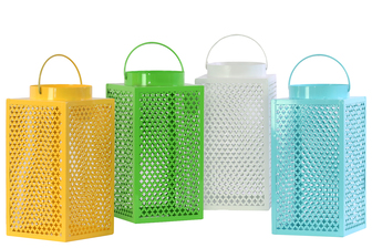 UTC34601-AST Metal Lantern with Handle, Quatrefoil Cutout Design Assortment of Four Gloss Finish Assorted Color (White, Blue, Yellow and Green)