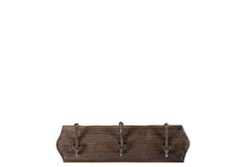 UTC35063 Wood Wall Hanger with 3 Double Hooks Stained Wood Finish Espresso Brown