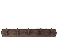 UTC35065 Wood Wall Hanger with 5 Double Hooks LG Stained Wood Finish Espresso Brown