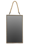 UTC35069 Metal Rectangular Mirror with Verdigris Highlights and Rope Hanger Rust Finish Brown