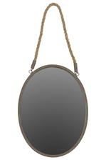 UTC35070 Metal Elliptical Mirror with Verdigris Highlights and Rope Hanger Rust Finish Brown