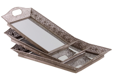 UTC35082 Metal Rectangular Tray with Mirror Surface, Pierced Metal and Cutout Handles Set of Three Electroplated Finish Silver