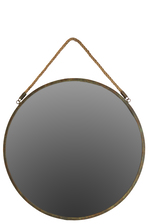 UTC35084 Metal Round Wall Mirror with Rope Hangers Tarnished Finish Bronze