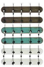 UTC35086-AST Wood Coat Hanger with 5 Double Hooks LG Assortment of Six Stained Wood Finish Assorted Color (Brown, Turquoise and White)