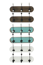 UTC35087-AST Wood Coat Hanger with 3 Double Hooks SM Assortment of Six Stained Wood Finish Assorted Color (Brown, Turquoise and White)