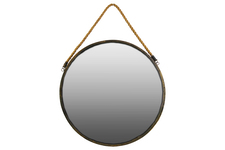 UTC35088 Metal Round Wall Mirror with Rope Hanger LG Tarnished Finish Gold