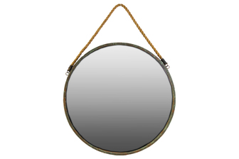 UTC35089 Metal Round Wall Mirror with Rope Hanger LG Tarnished Finish Brown