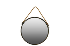UTC35090 Metal Round Wall Mirror with Rope Hanger SM Tarnished Finish Gold