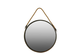 UTC35091 Metal Round Wall Mirror with Rope Hanger SM Tarnished Finish Brown