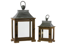UTC35102 Wood Rectangular Lantern with Metal Top and Ring Hanger Set of Two Dark Stained Wood Finish Brown