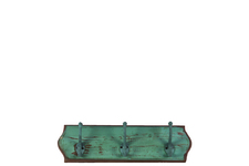 UTC35111 Wood Wall Hanger with 3 Double Hooks SM Distressed Finish Turquoise