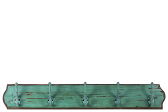 UTC35112 Wood Wall Hanger with 5 Double Hooks LG Distressed Finish Turquoise