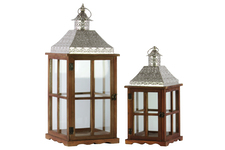UTC35113 Wood Square Lantern with Pierced Metal Top, Glass and Perpendicular Lines Design Side, and Ring Handle Set of Two Natural Wood Finish Brown