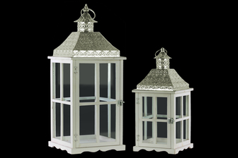 UTC35114 Wood Square Lantern with Pierced Metal Top, Glass and Perpendicular Lines Design Side, and Ring Handle Set of Two Coated Finish White