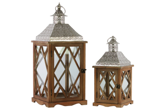 UTC35115 Wood Square Lantern with Pierced Metal Top, Glass and Diamond Design Side, and Ring Handle Set of Two Natural Wood Finish Brown