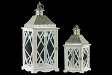 UTC35116 Wood Square Lantern with Pierced Metal Top, Glass and Diamond Design Side, and Ring Handle Set of Two Coated Finish White