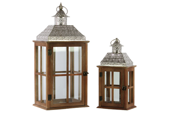 UTC35117 Wood Square Lantern with Pierced Metal Top, Glass and Cross Line Design Side, and Ring Handle Set of Two Natural Wood Finish Brown