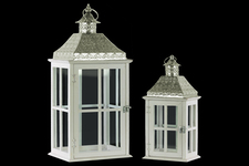 UTC35118 Wood Square Lantern with Pierced Metal Top, Glass and Cross Line Design Side, and Ring Handle Set of Two Coated Finish White