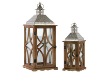 UTC35119 Wood Square Lantern with Pierced Metal Top, Glass and Astroid Design Side, and Ring Handle Set of Two Natural Wood Finish Brown