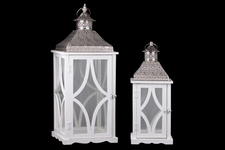 UTC35120 Wood Square Lantern with Silver Pierced Metal Top, Glass and Astroid Design Body, and Ring Handle Set of Two Painted Finish White