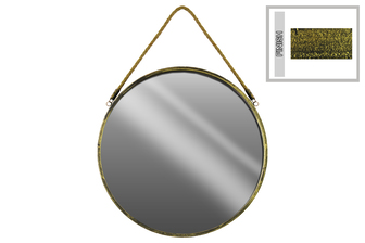 UTC35127 Metal Round Wall Mirror with Rope Hanger LG Tarnished Finish Gold
