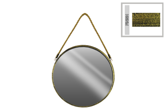 UTC35128 Metal Round Wall Mirror with Rope Hanger SM Tarnished Finish Gold