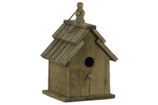 UTC35133 Wood Bird House with Double Gable Roof Design and Metal Handle Natural Finish Brown