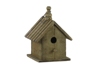 UTC35134 Wood Bird House with Gable Roof Design and Metal Handle Natural Finish Brown