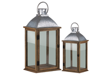 UTC35135 Wood Rectangular Lantern with Galvanized Metal Top and Ring Handle Set of Two Natural Finish Brown