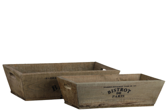 UTC35137 Wood Rectangular Tray with Cutout Side Handles and Tapered Bottom Set of Two Natural Finish Brown