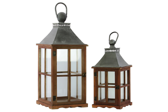 UTC35138 Wood Square Lantern with Galvanized Metal Top, Glass and Perpendicular Lines Design Side, and Ring Handle Set of Two Natural Finish Brown