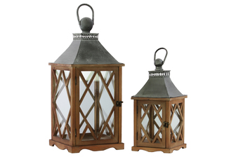 UTC35139 Wood Square Lantern with Galvanized Metal Top, Glass and Diamond Design Side, and Ring Handle Set of Two Natural Finish Brown