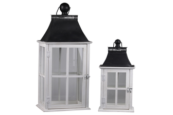 UTC35140 Wood Rectangle Lantern with Black Galvanized Metal Top, Glass and Cross Line Design Body, and Ring Handle Set of Two Painted Finish White