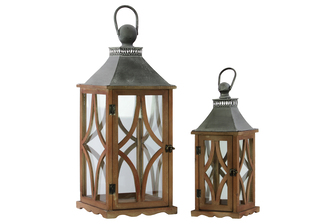 UTC35141 Wood Square Lantern with Galvanized Metal Top, Glass and Astroid Design Side, and Ring Handle Set of Two Natural Finish Brown
