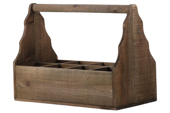 UTC35143 Wood Caddy with Handle and 8 Slots Natural Wood Finish Brown