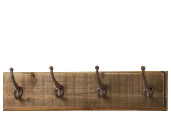 UTC35144 Wood Rectangle Wall Hanger with 4 Double Hooks and 2 Metal Back Hangers Natural Wood Finish Brown
