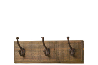 UTC35145 Wood Rectangle Wall Hanger with 3 Tarnished Double Metal Hooks and 2 Metal Back Hangers Natural Wood Finish Brown