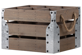 UTC35146 Wood Rectangular Crate with 6 Slots, 2 Rope Side Handle and Corner Metal Sheets Natural Wood Finish Brown