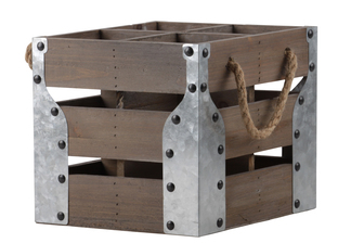 UTC35147 Wood Square Crate with 4 Slots, 2 Rope Side Handles and Corner Metal Sheets Natural Wood Finish Brown