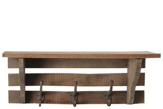 UTC35160 Wood Rectangle Wall Hanger with Top Shelf, Metal Bottom Hooks and Sawtooth Back Hangers Natural Finish Brown