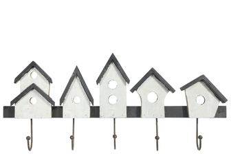 UTC35161 Wood Rectangle Wall Hanger with Top Clustered Houses Design, Metal Bottom Hooks and Triangular Back Hangers Painted Finish White
